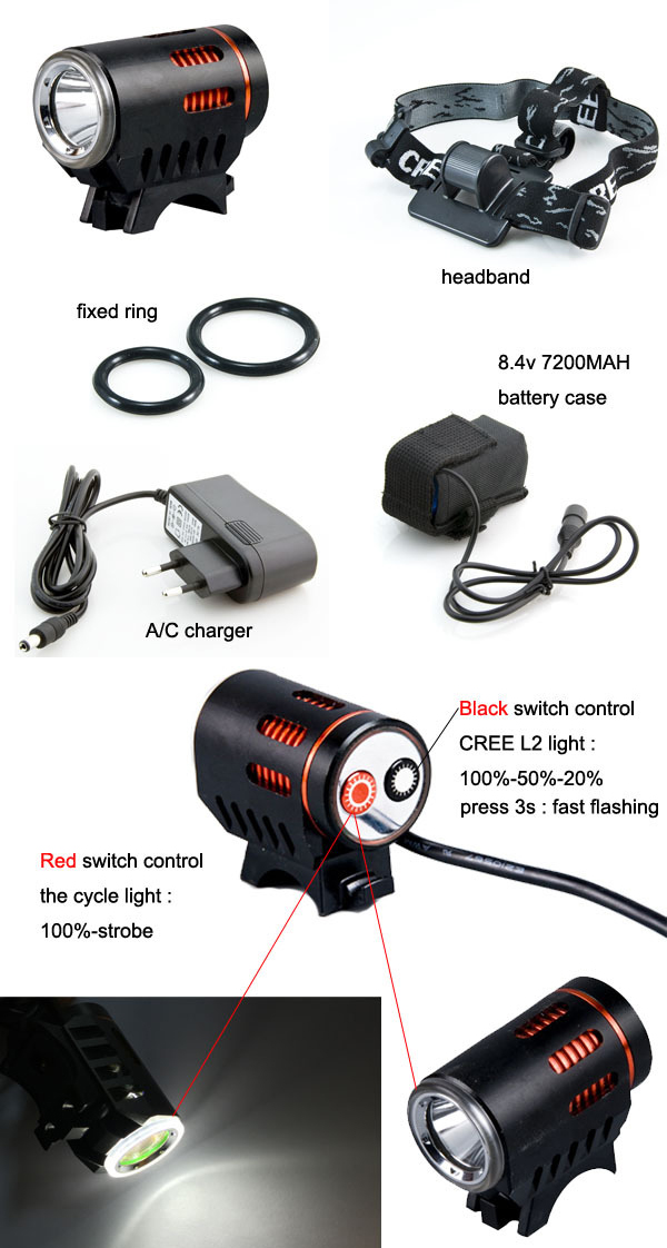 Outdoor High Quality Powered 1* Xm-L T6/L2 LED Range Adjusteable Rechargeable Bycicle/Bike LED Light