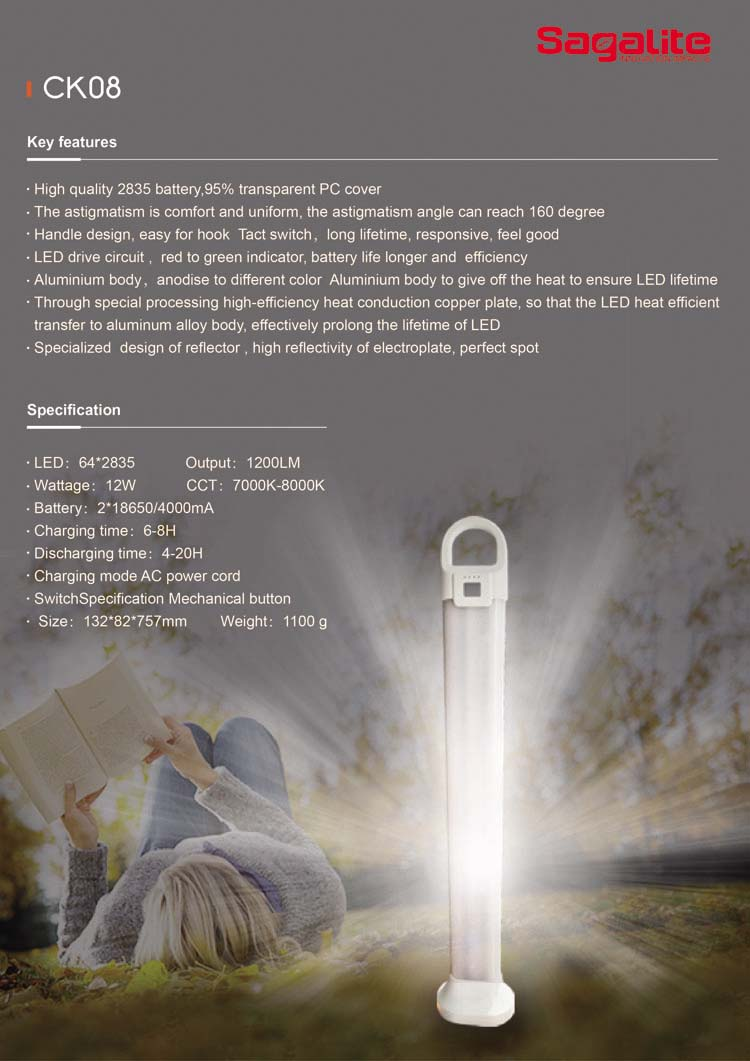 Super Bright 30h Working Time Indoor and Outdoor Rechargeable LED Emergency Light