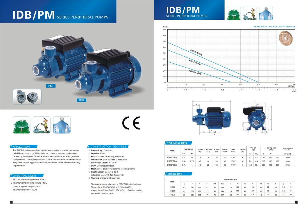 Idb-50 1 HP Hydraulic Pumps/ Vortex Water Pump