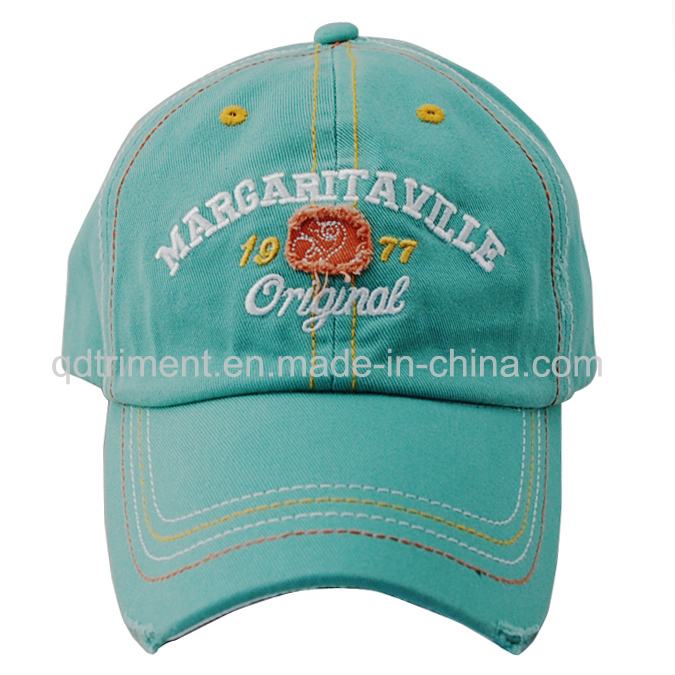 Distressed Washed Thicker Stitches Embroidery Golf Baseball Cap (TMB0375)