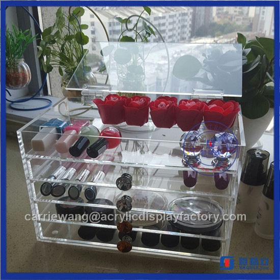 High Clear 5 Tier Acrylic Makeup Organizer with Crystal Knob