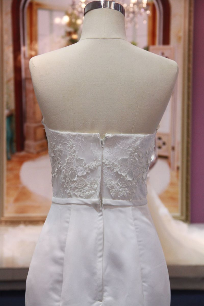 Strapless Stain Lace Mermaid Wedding Bridal Dress Gowns Mat-103