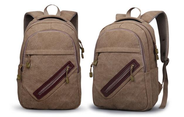 Cotton Canvas High School Backpack Bag with Zipper Pocket Sh-16042732