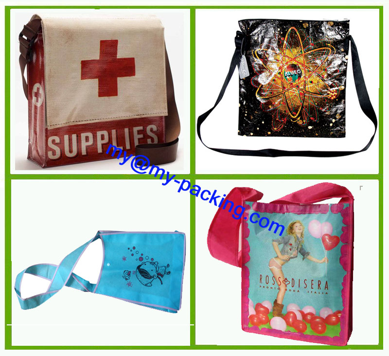 Custom Printing PP Laminated Non-Woven Promotion Shoulder Bag