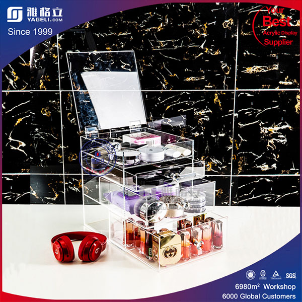 High Quality Lucite Makeup Storage with Drawer and Lid