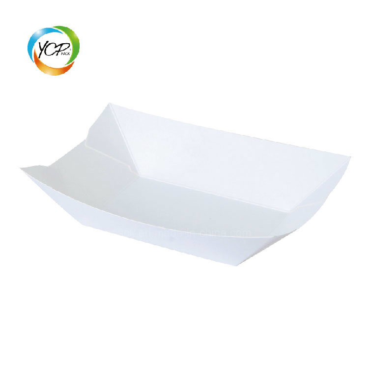 100% Compostable Eco Friendly Custom Size Disposable White Paper Food Tray