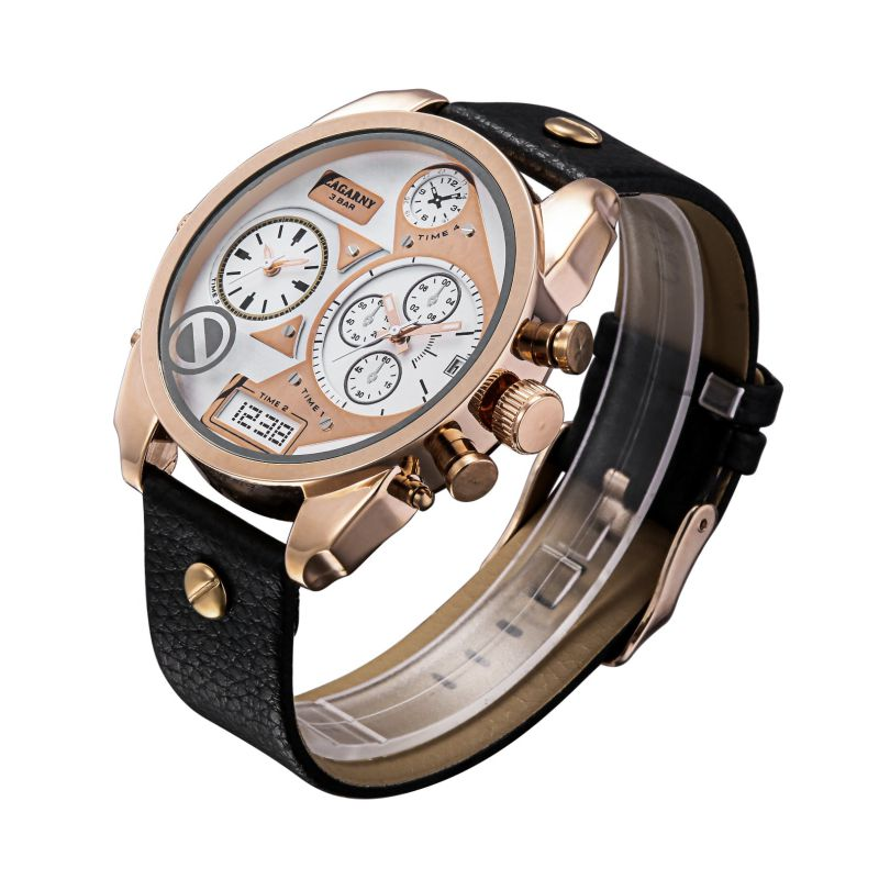 Rose Gold Double Movement Multifunction Rosegold Watch