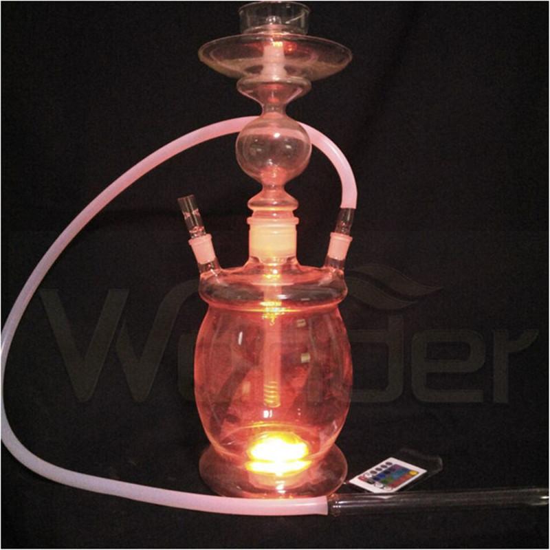 Wholesale All Glass Hookah Shisha, Colored Smoke Hookah with LED