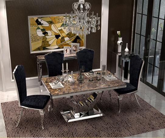 Modern Elegant Brown Mable Top Dining Room Dinner Table Hands Heart Love Shape Base Stainless Steel