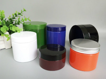 Screen Printed Cosmetic Plastic Container with Black Cover