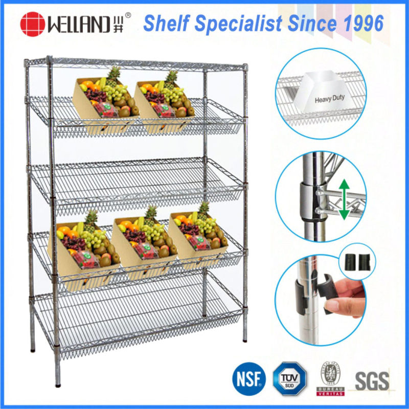 Commercial Used 4 Layers Adjustable Steel Vegetable Display Rack