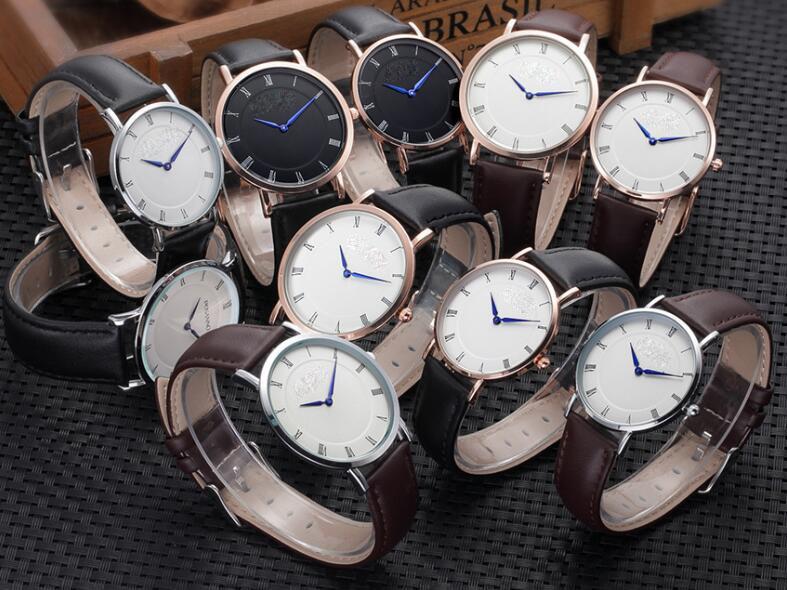 Yxl-568 Fashion Design Thin Black Leather Watch Strap Mens Watches Sex Thin Strap Mens Watch