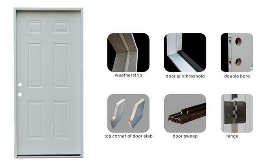 Full Lite Decorative Tempered Glass Inserted Utiltiy Interior Office Steel Door