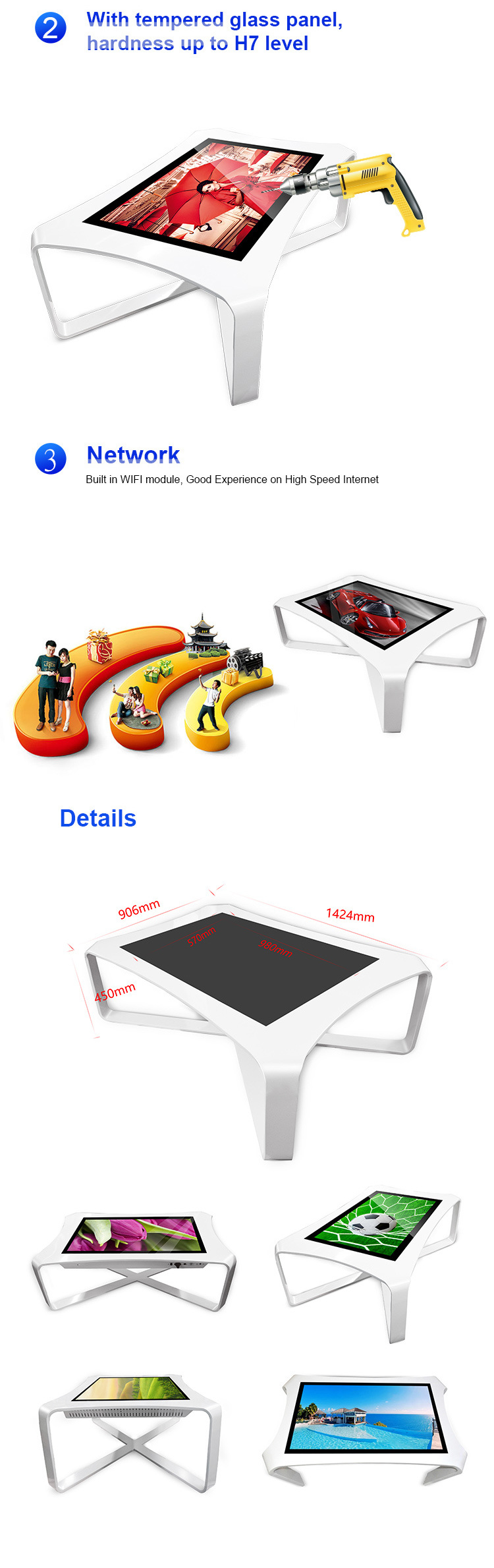 43 Inch Interactive Dining Touch Screen Coffee Table Touch Table for Restaurant