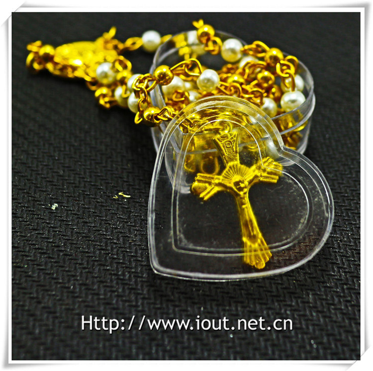 Religious Metal Bottle, Round Glass Bottle, Cross Bottle, Rosary Bottle (IO-p035)