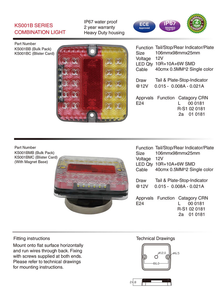 Ks001b Waterproof Stop/Rear E-MARK Tail Light