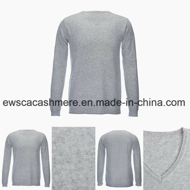 Men's V-Neck Solid Color Casual Style Top Grade Pure Cashmere Sweater
