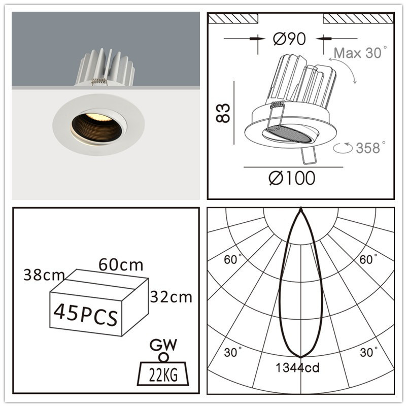 Heat Fixed Recessed Ceiling LED Spotlight IP44 LED Down Light