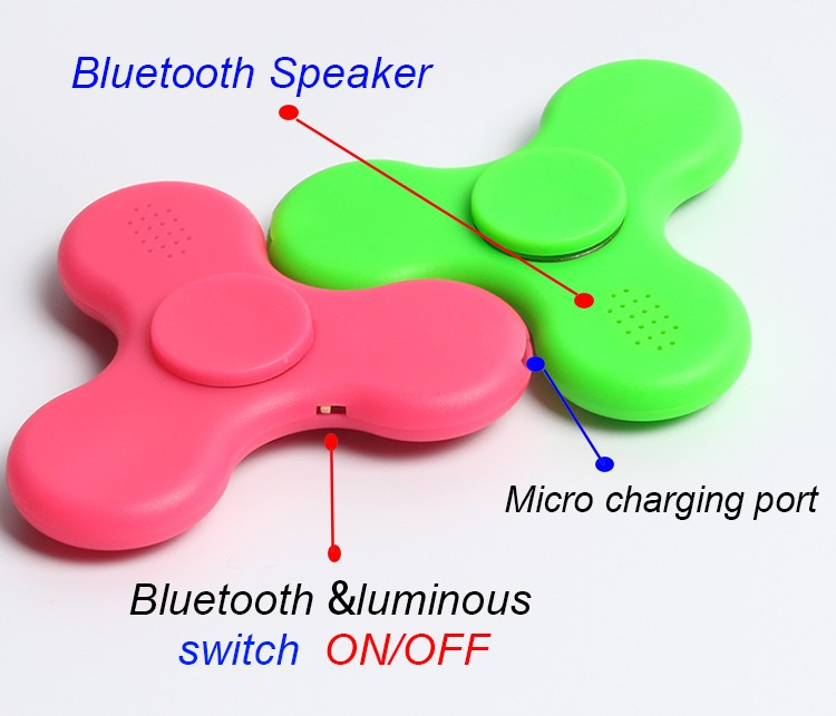 Fashion Bluetooth Speaker Fidget Hand Fidget Spinner with LED Light