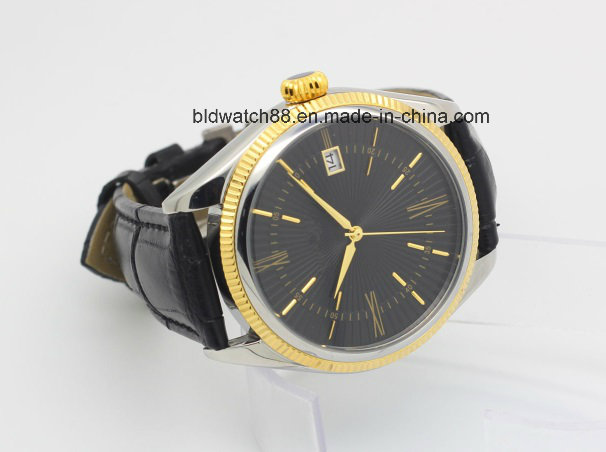 Custom Sports Gold Tone Leather Band Automatic Wrist Watch Men
