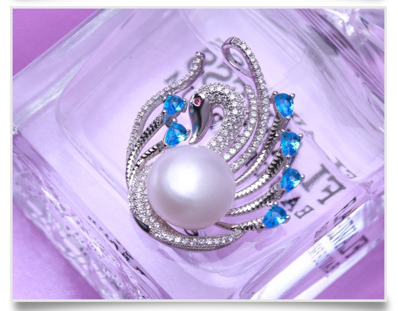Freshwater Fashion Pearl Pendant 12-13mm AAA Button Pearl Swan Shape Button Pearl Pendant