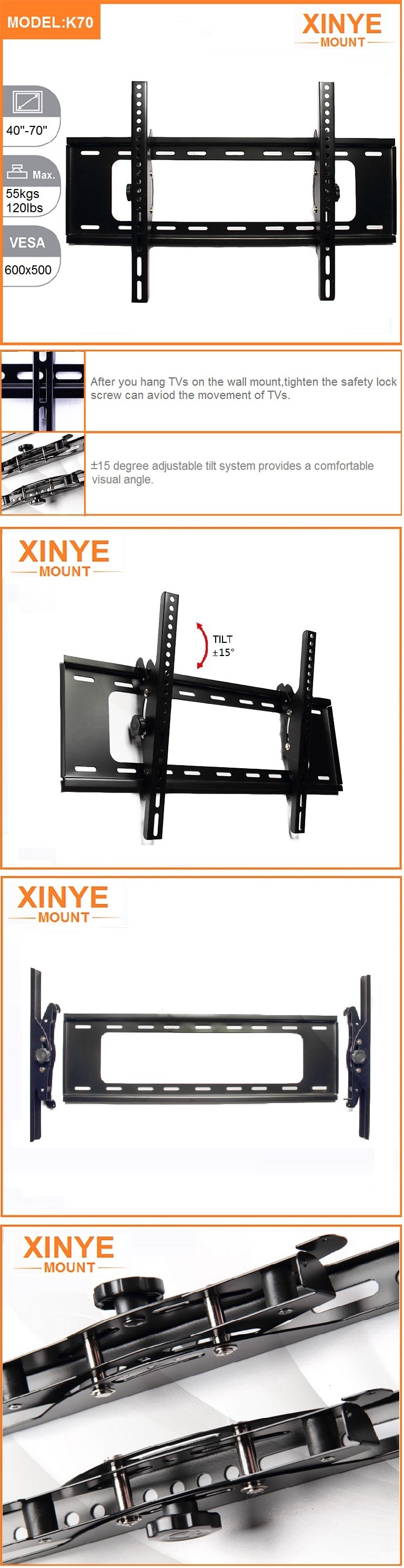 Universal Economy Vesa Tilt 600X400 Wall Bracket TV Mount