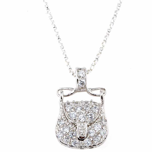 Sterling Silver CZ Purse Pendant in 925 Sterling Silver Jewelry