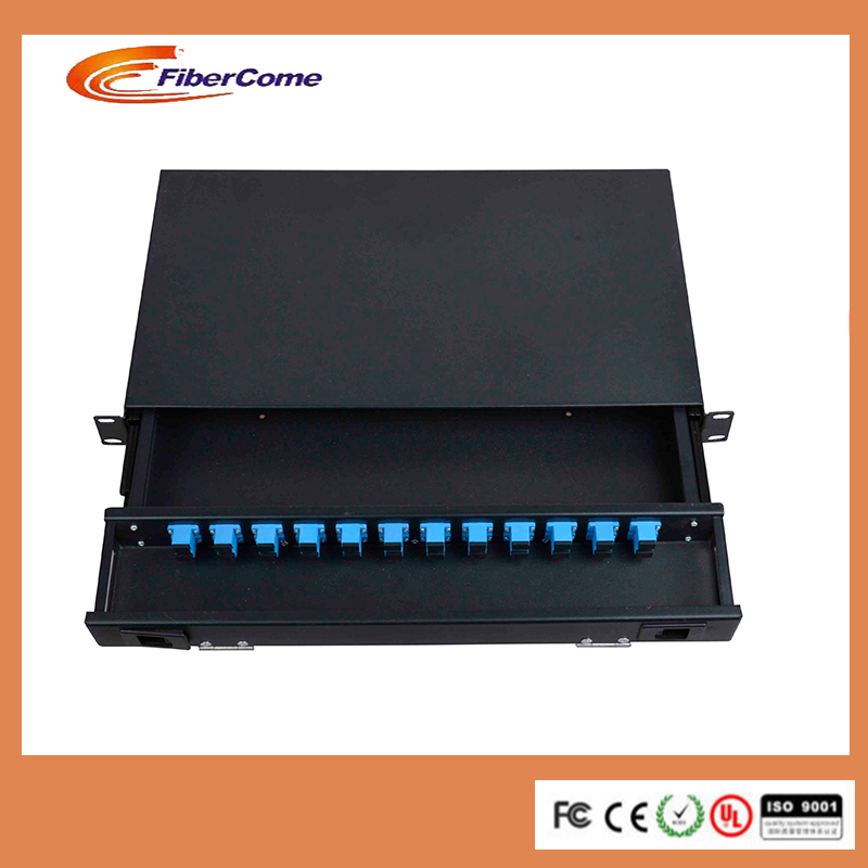 Customers Black Fat 1u Fiber Optic Patch Panels with Changeable Panel (12/24 ports)