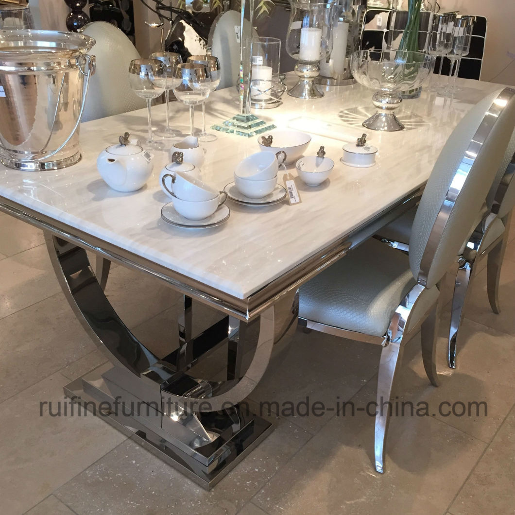 Modern Dining Room Contemporary Home Furniture / Elegant Metal Chrome Stainless Steel Marble Table Chair Banquet Restaurant Wedding Events Dining Furniture