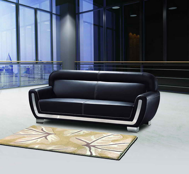 Black Office Sofa PU Leather Sofa Set (DX523)