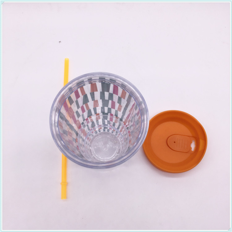 Food Safe Plastic Coffee Cups with Straw (SH-PM34)