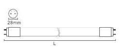 T8 LED Glass Tube with Rotating Base