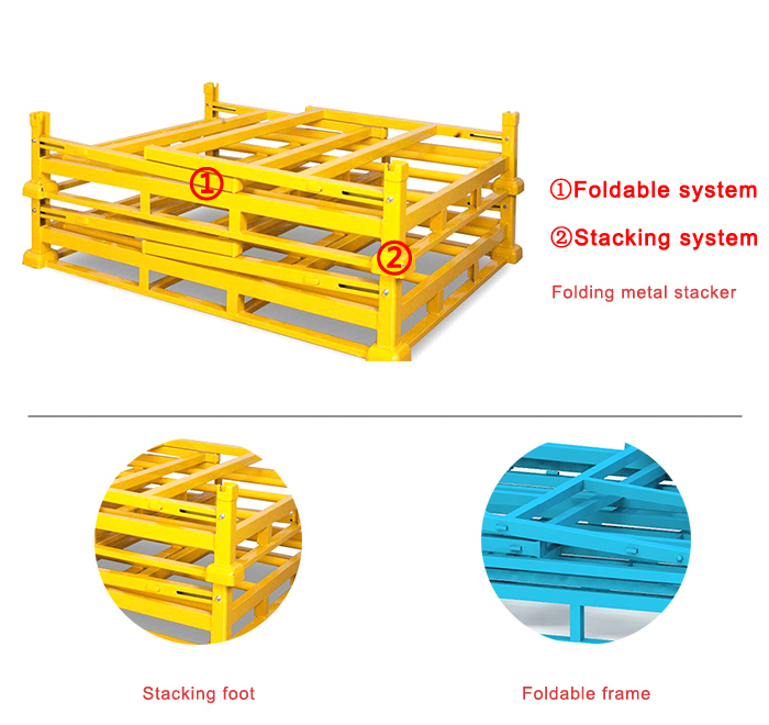 Coated Foldable Metal Pallet Storage Rack for Warehouse