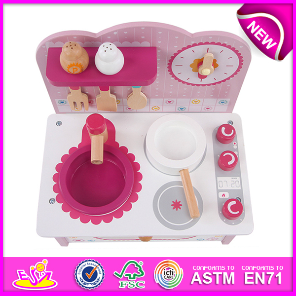 New Product Wooden Toy Kitchen for Kids, Lovely Wooden Kitchen Set Toy for Children, Pretend Toy Kitchen Play Set for Sale W10c096