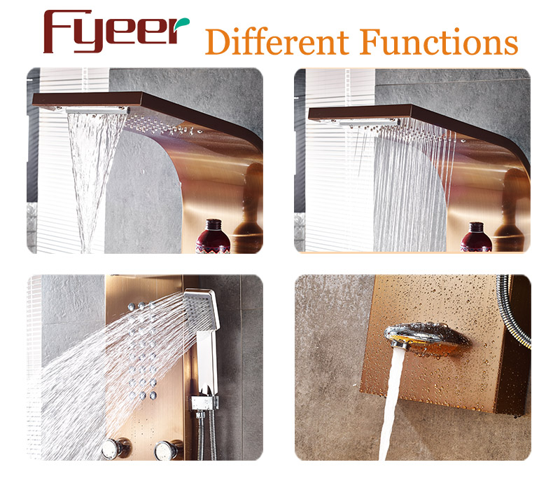 Fyeer Luxury 5 Function Massage Rainfall Stainless Steel Shower Panel
