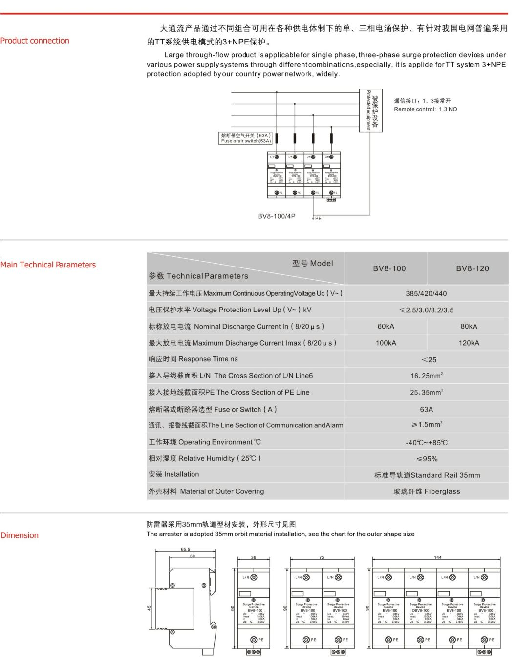 Imax 60ka~150ka Application Protection Grade B Class Surge Protection Device