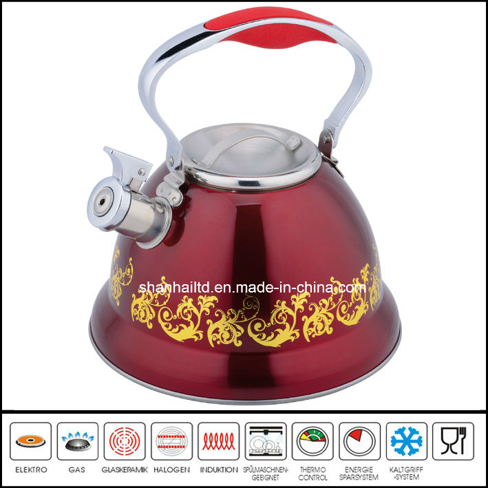 Flower Painted Stainless Steel Whistle Kettle
