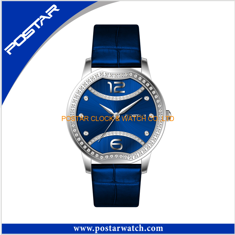 Charming Fashion Good Quality Stainless Steel Ladies Watch with Leather Band