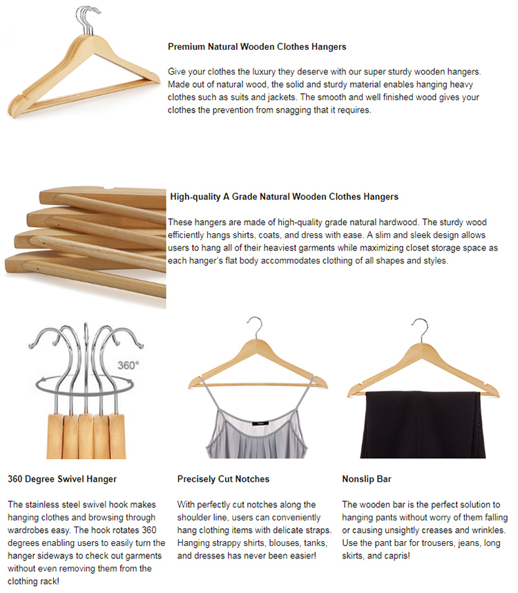 Clothing Types Space Saving High Quality Smart Wooden Clothes Hangers