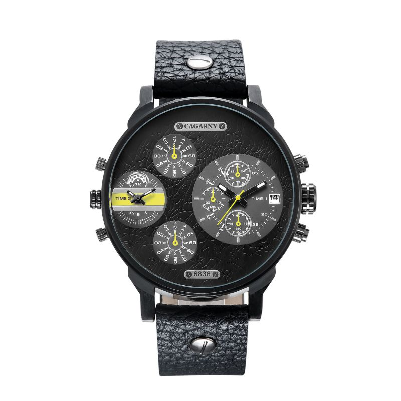 fashion Multifunction Several Eyes Wristwatch for Men Big Dial