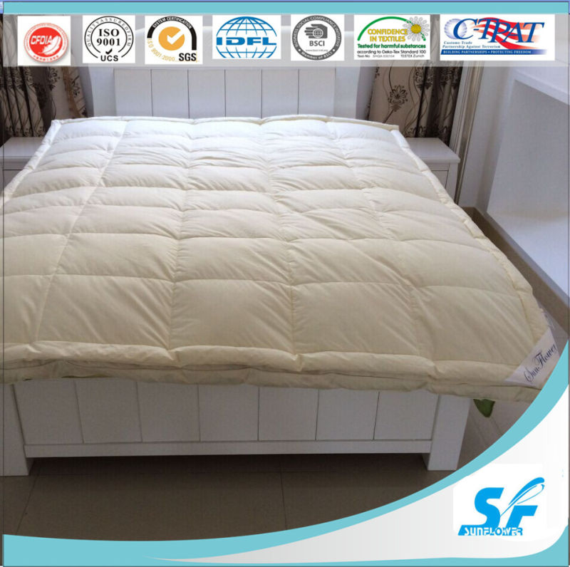Double Layer Down and Feather Mattress Topper and Mattress Protector