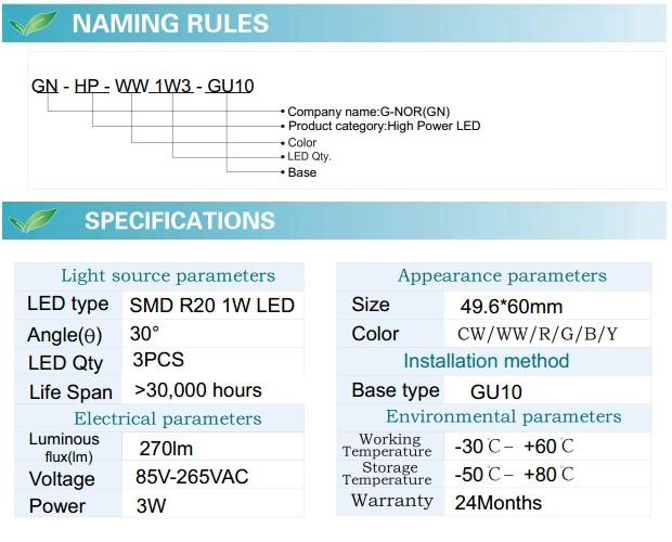 LED Spotlight Bulb (GN-HP-WW1W3-GU10)