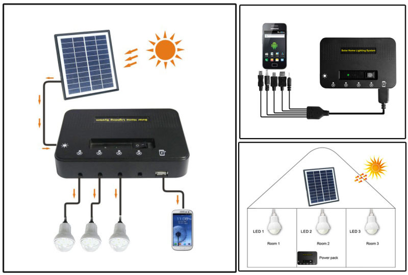 Three Light Solar Powered Kits for Family Lighting and Mobile Charging