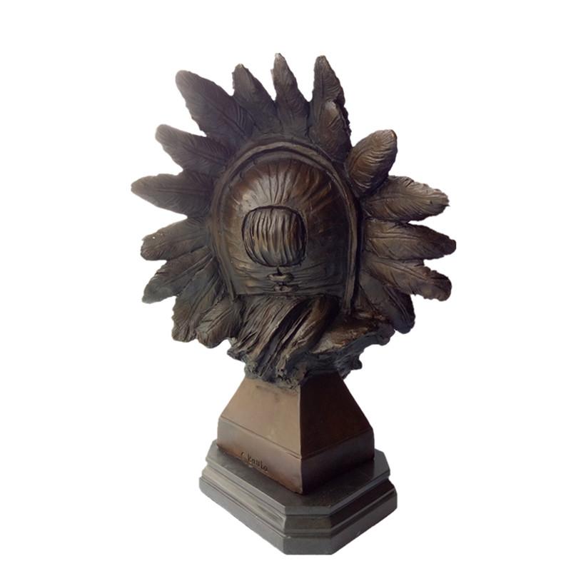 Bust Bronze Sculpture Indian Chiefs Metal Crafts Brass Statue Tpy-922