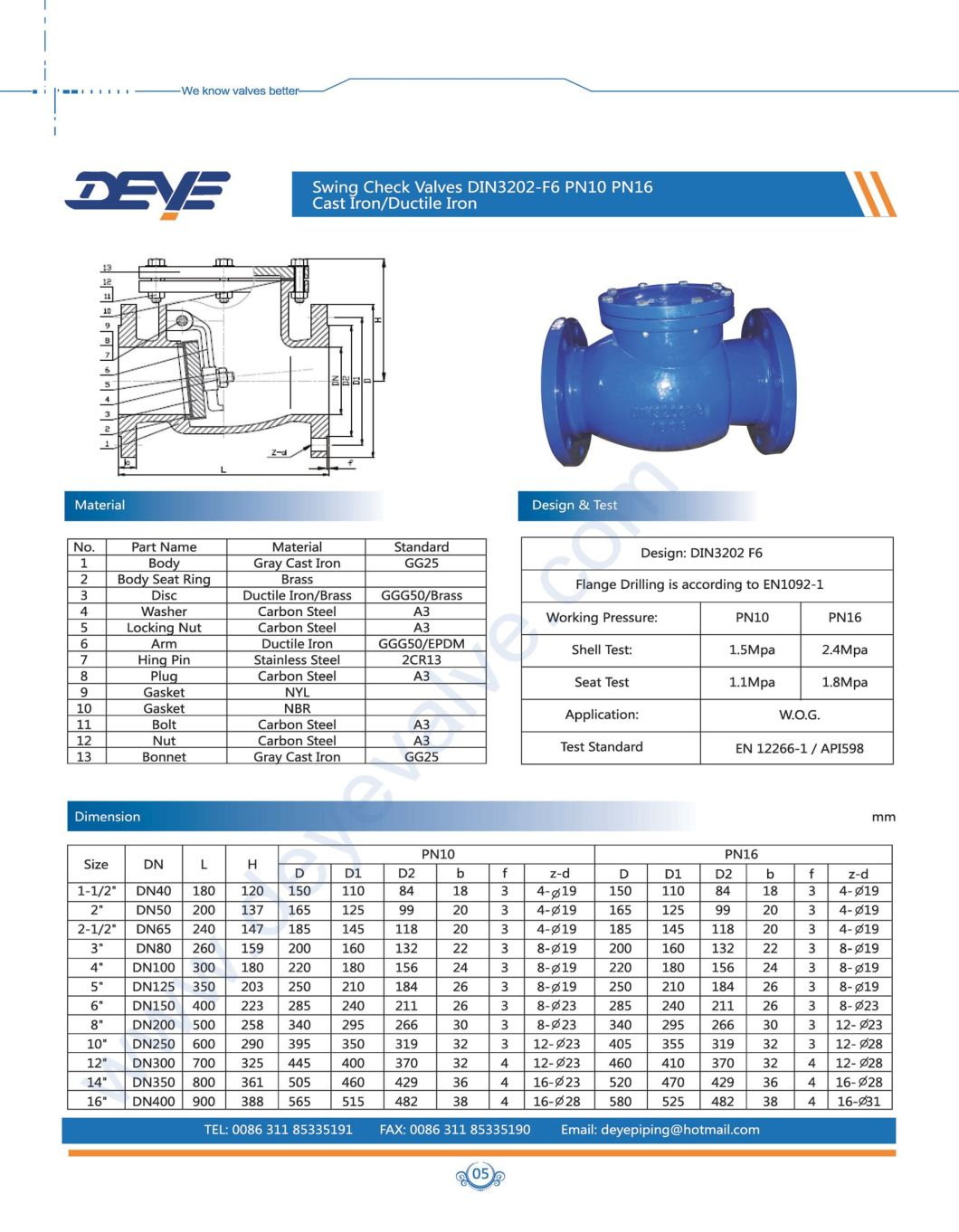 DIN 3202 F6 Pn10 Pn16 Cast Ductile Iron Swing Check Valve with Brass Seat
