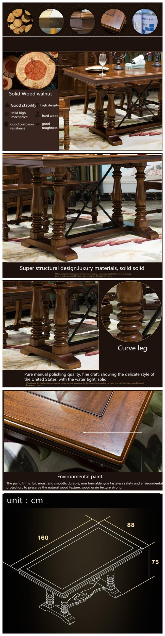 American Style Wooden Long Dining Table for Home Furniture (AS835)