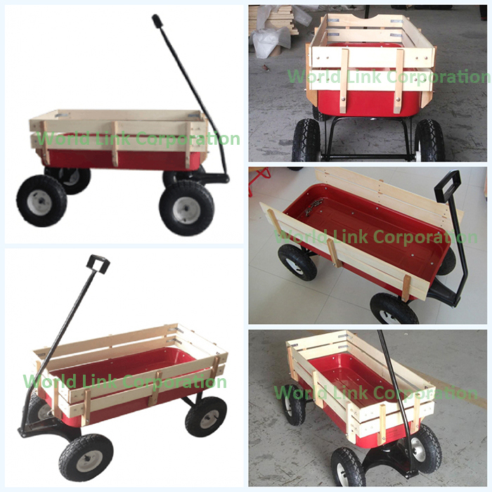 High Quality Wooden Wagon Kids Cart
