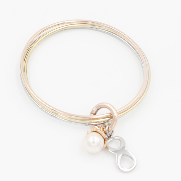 New Design Fashion Stacking Bangle Jewelry with Pearl & Infinite Charms
