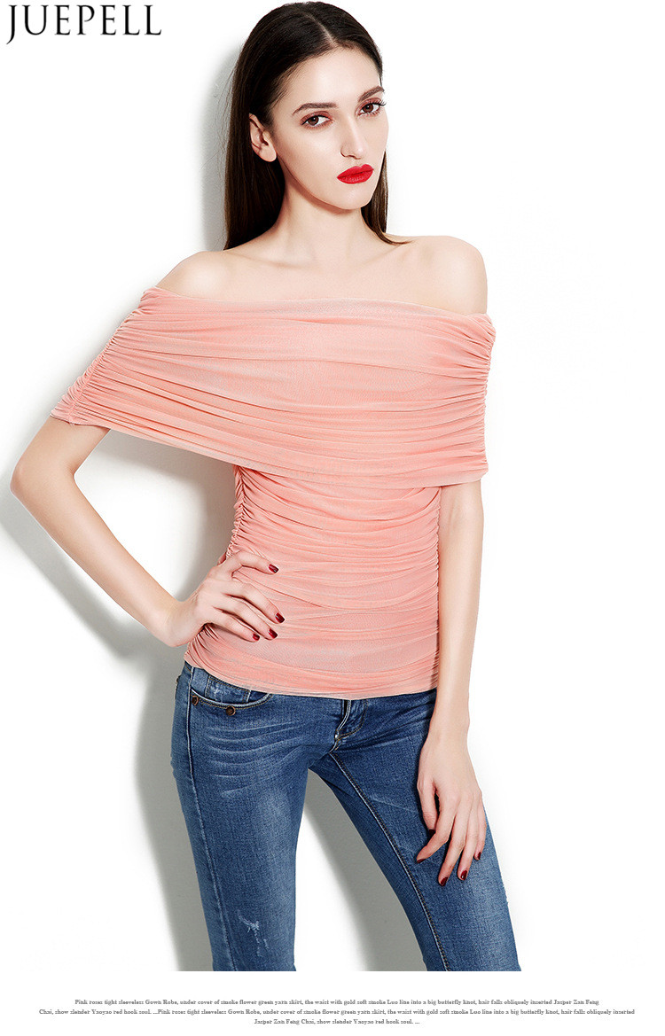 New Spring and Summer Women's Multicolour One Word Shoulder Sexy Gauze Ruffle Blouse Temperament Slim Bottoming Wild Women Silk Top