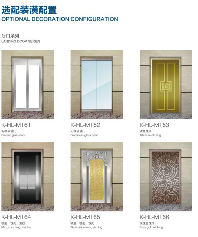 Aksen Mirror Etched Machine Room Less Passenger Elevator J0342